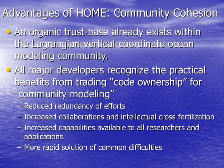 Advantages of HOME: Community Cohesion