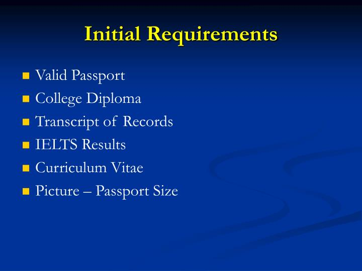 Initial Requirements