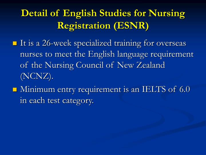 Detail of English Studies for Nursing Registration (ESNR)