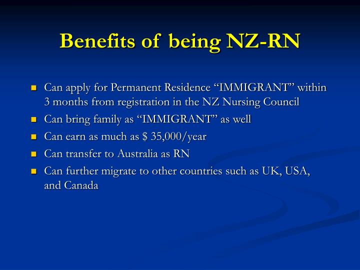 Benefits of being NZ-RN
