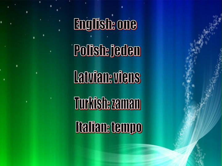 English: one