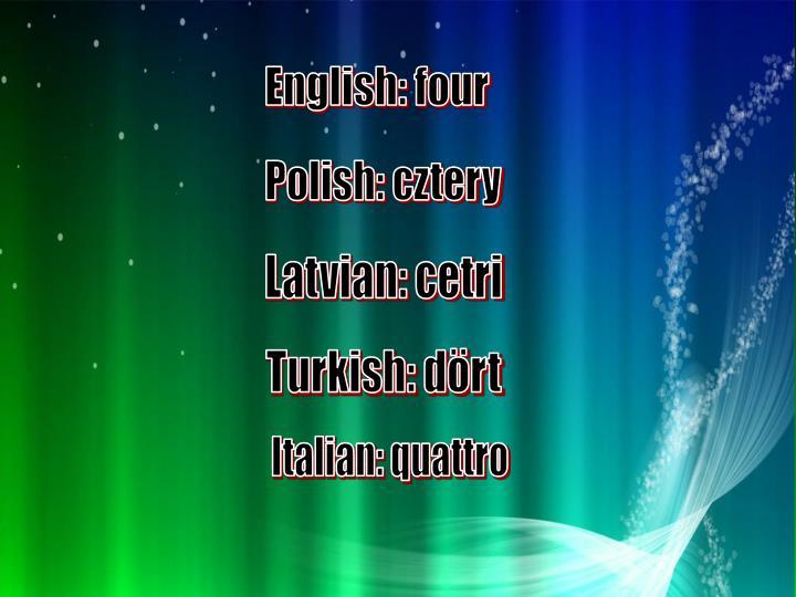 English: four