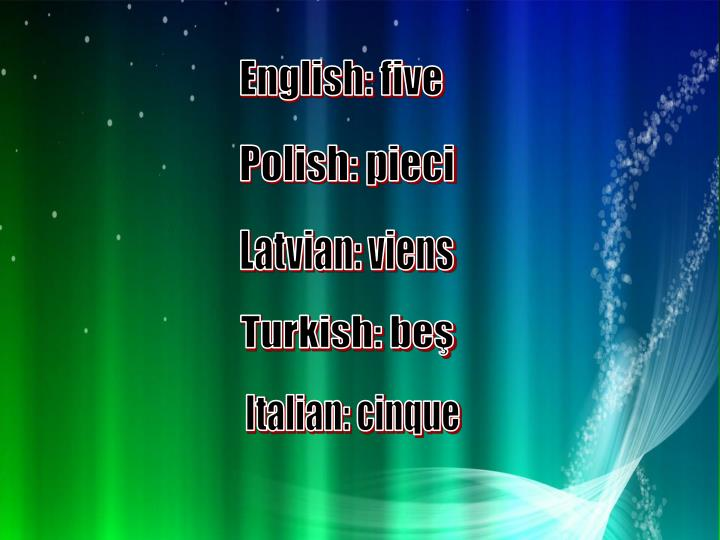 English: five