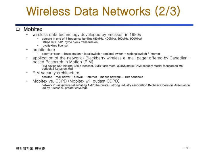 Wireless Data Networks (2/3)