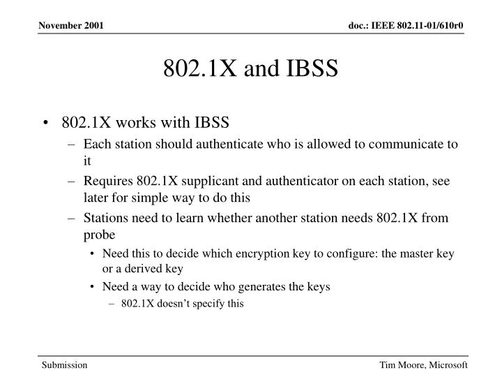 802.1X and IBSS