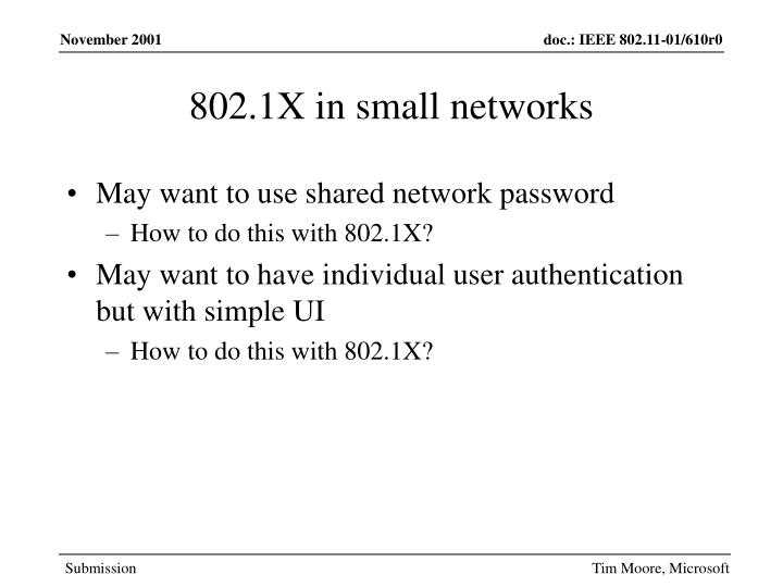 802.1X in small networks