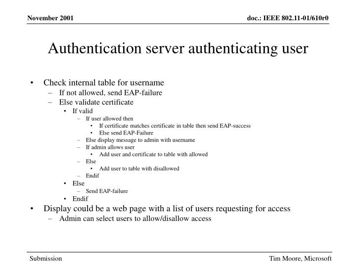 Authentication server authenticating user