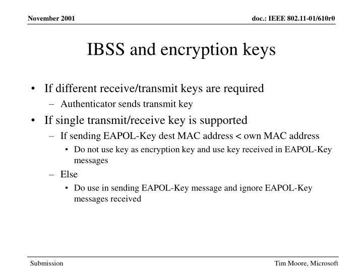 IBSS and encryption keys