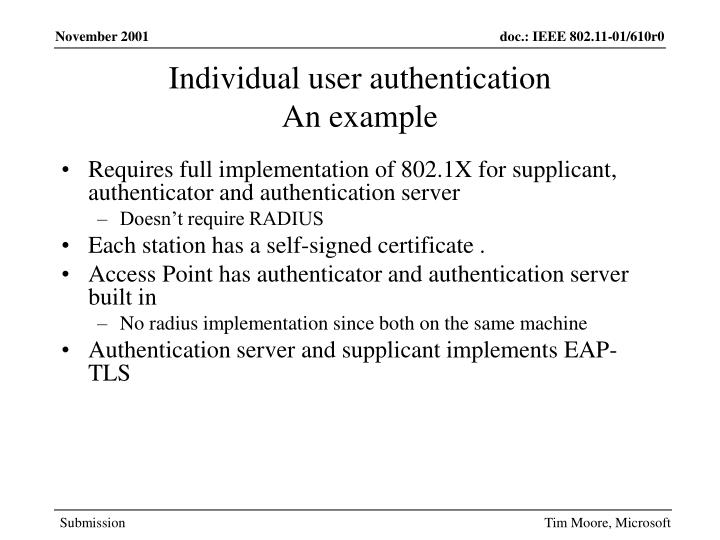 Individual user authentication