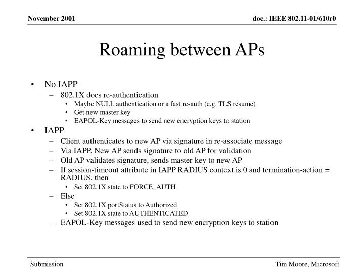 Roaming between APs