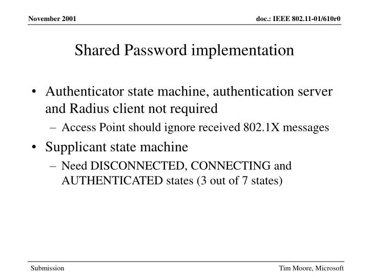 Shared Password implementation