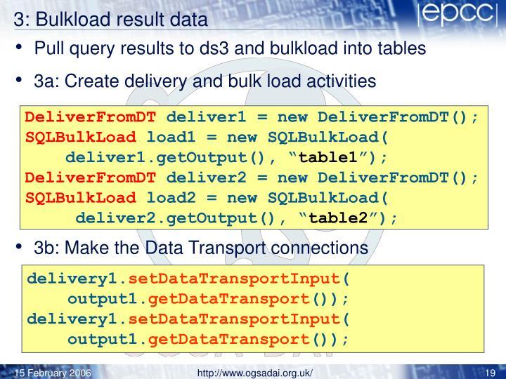 3: Bulkload result data