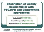 description of weakly bound nuclei with ptg hfb and gamow hfb approaches