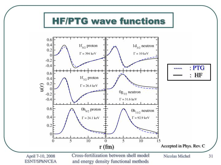 HF/PTG wave functions