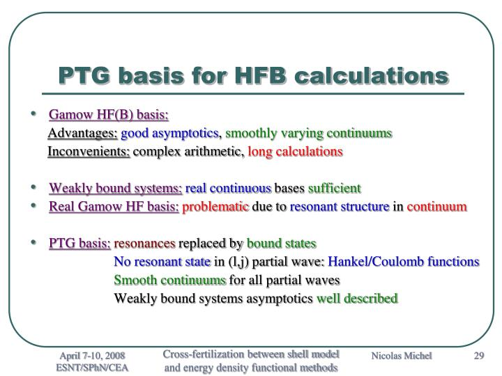 PTG basis for HFB calculations