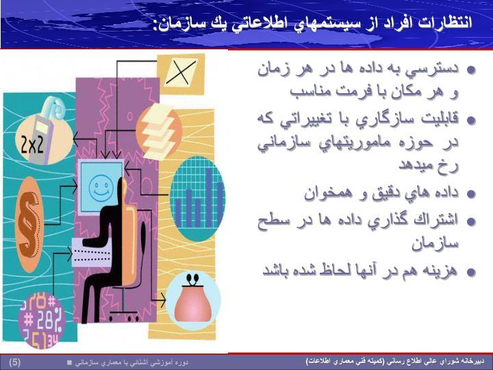 انتظارات افراد از سيستمهاي اطلاعاتي يك سازمان: