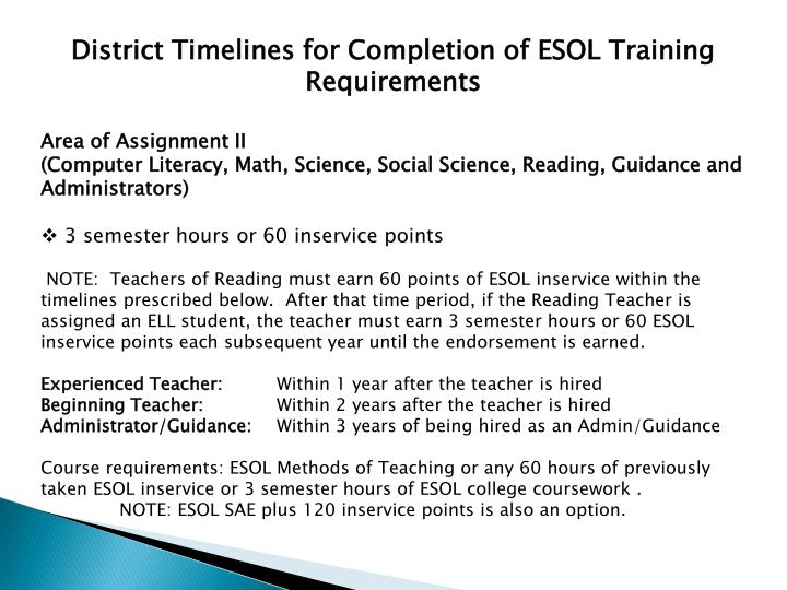 District Timelines for Completion of ESOL Training  Requirements