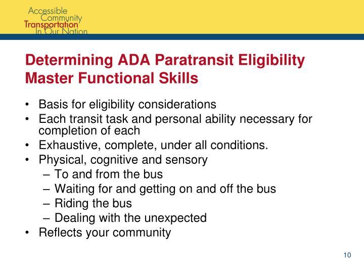 Determining ADA Paratransit Eligibility