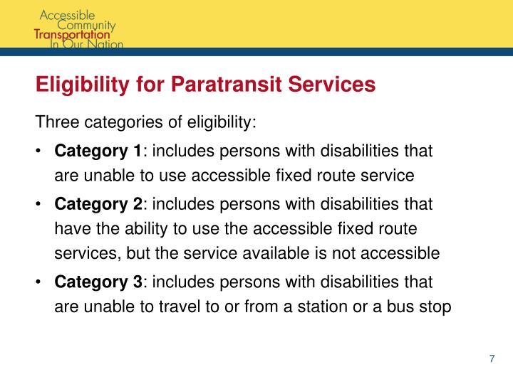 Eligibility for Paratransit Services
