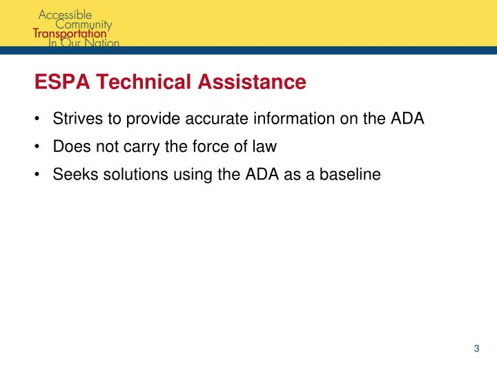 ESPA Technical Assistance