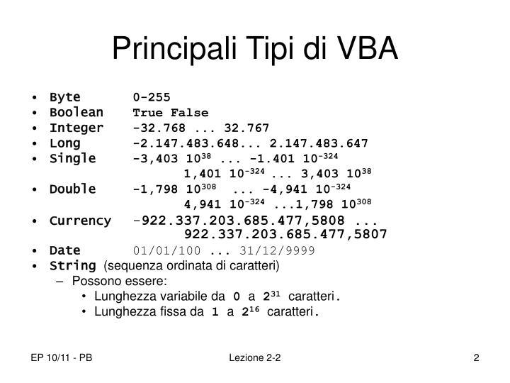 Principali Tipi di VBA