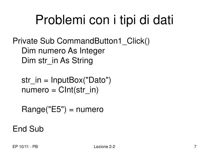 Problemi con i tipi di dati