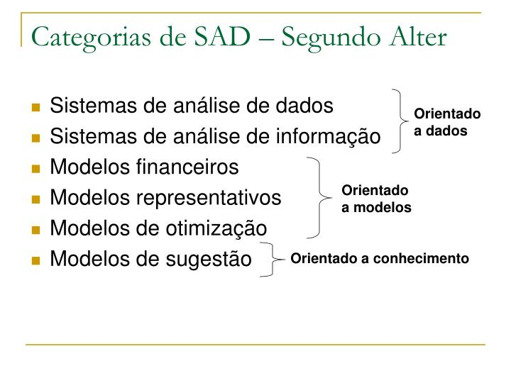 Categorias de SAD – Segundo Alter