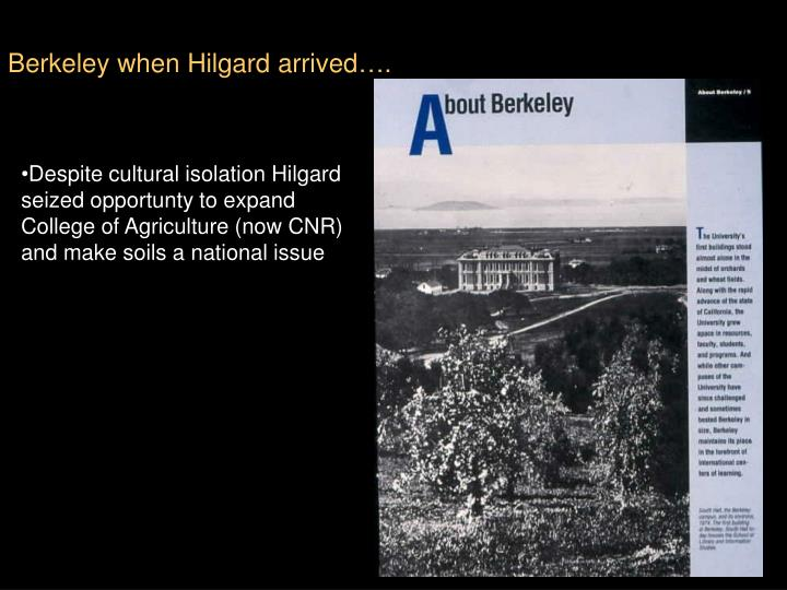 Berkeley when Hilgard arrived….