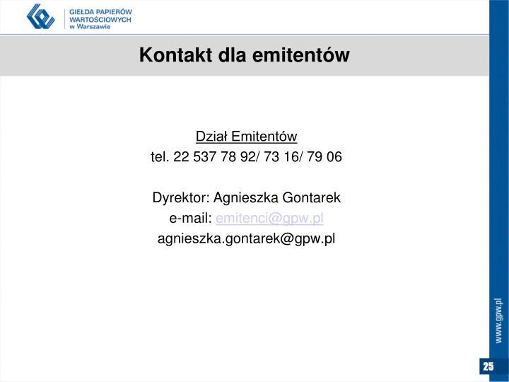 Kontakt dla emitentów