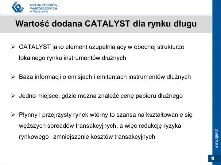 Wartość dodana CATALYST dla rynku długu