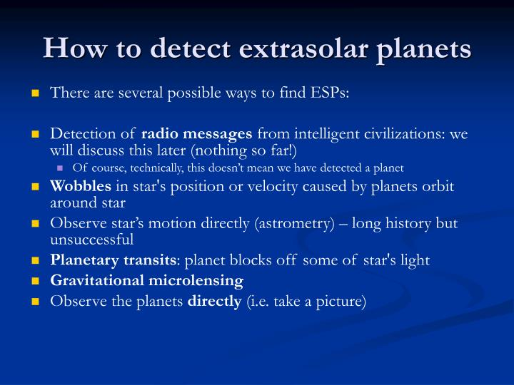 How to detect extrasolar planets