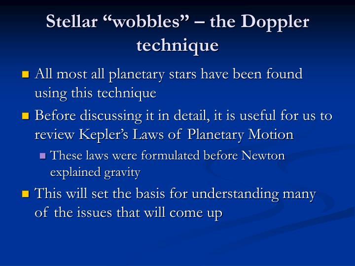 """Stellar """"wobbles"""" – the Doppler technique"""