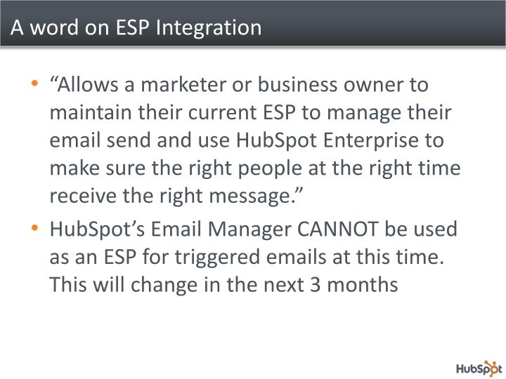 A word on ESP Integration