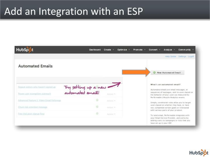 Add an Integration with an ESP