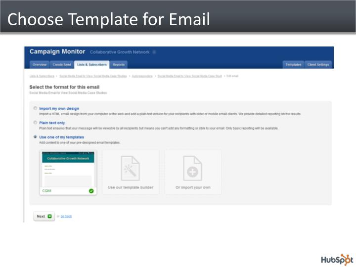 Choose Template for Email