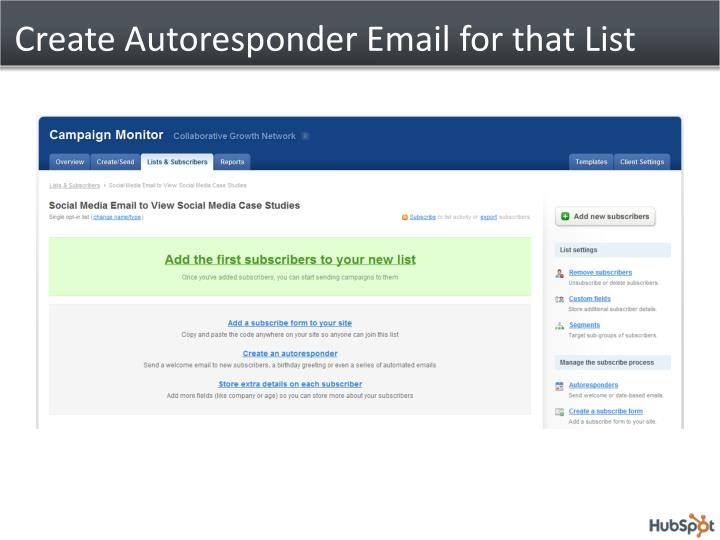 Create Autoresponder Email for that List