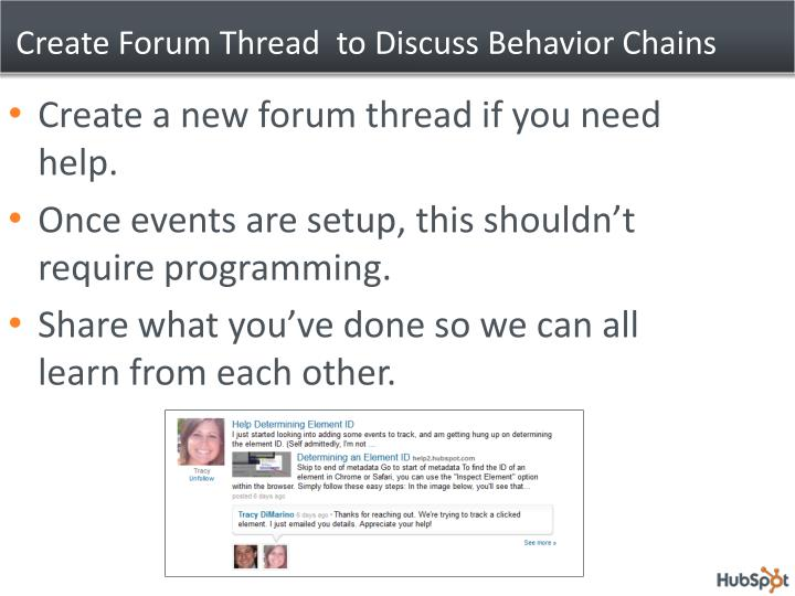 Create Forum Thread  to Discuss Behavior Chains