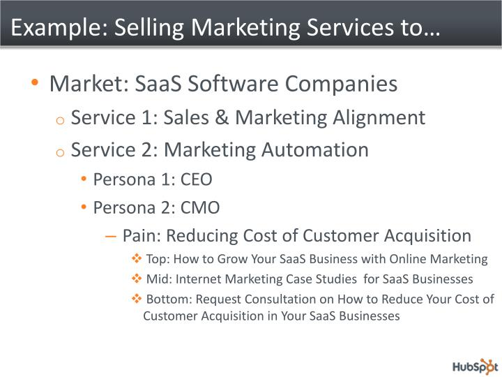 Example: Selling Marketing Services to…