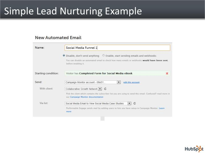 Simple Lead Nurturing Example
