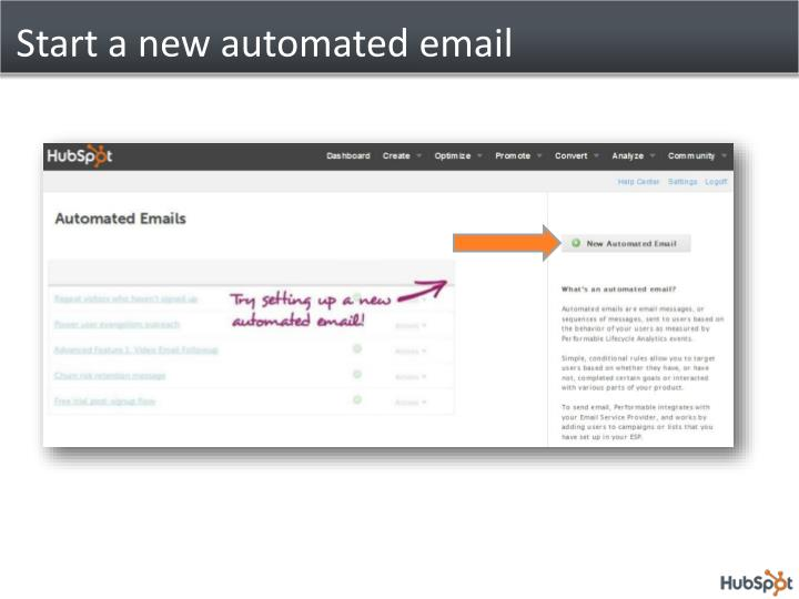 Start a new automated email