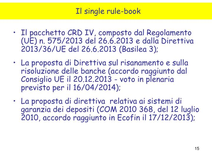 Il single rule-book