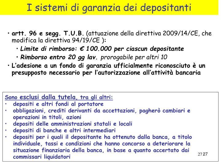 I sistemi di garanzia dei depositanti