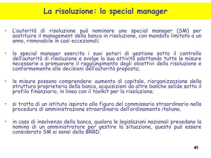 L'autorità di risoluzione può nominare uno special manager (SM) per sostituire il management della banca in risoluzione, con mandato limitato a un anno, rinnovabile in casi eccezionali;