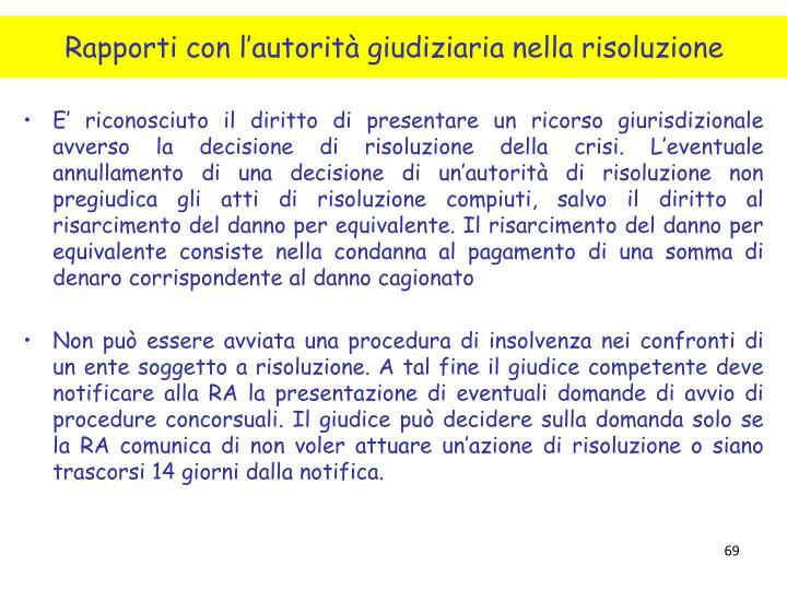 Rapporti con l'autorità giudiziaria nella risoluzione