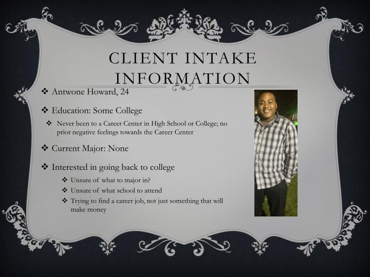 Client intake information