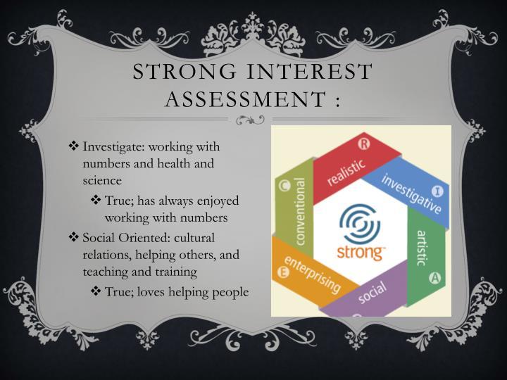 Strong interest assessment :