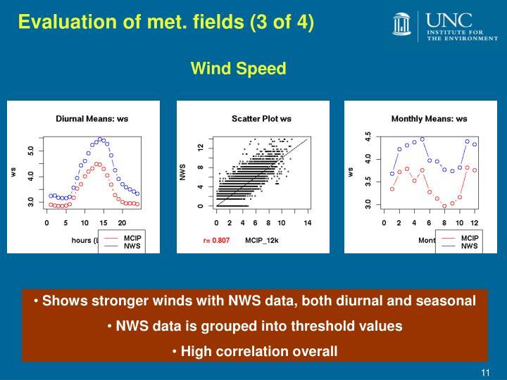 Evaluation of met. fields (3 of 4)