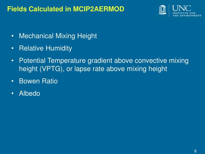 Fields Calculated in MCIP2AERMOD