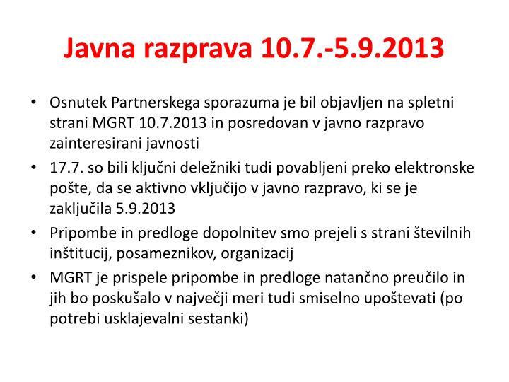 Javna razprava 10.7.-5.9.2013