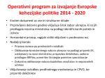 operativni program za izvajanje evropske kohezijske politike 2014 2020